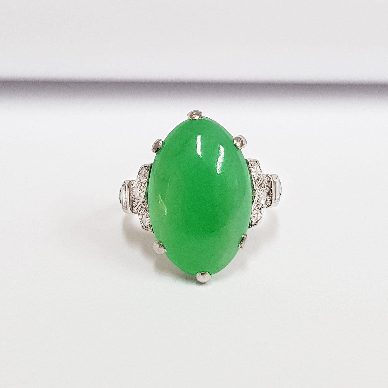 d874dc8df5948 Antique jade and diamond ring circa 1920s art deco in Platinum