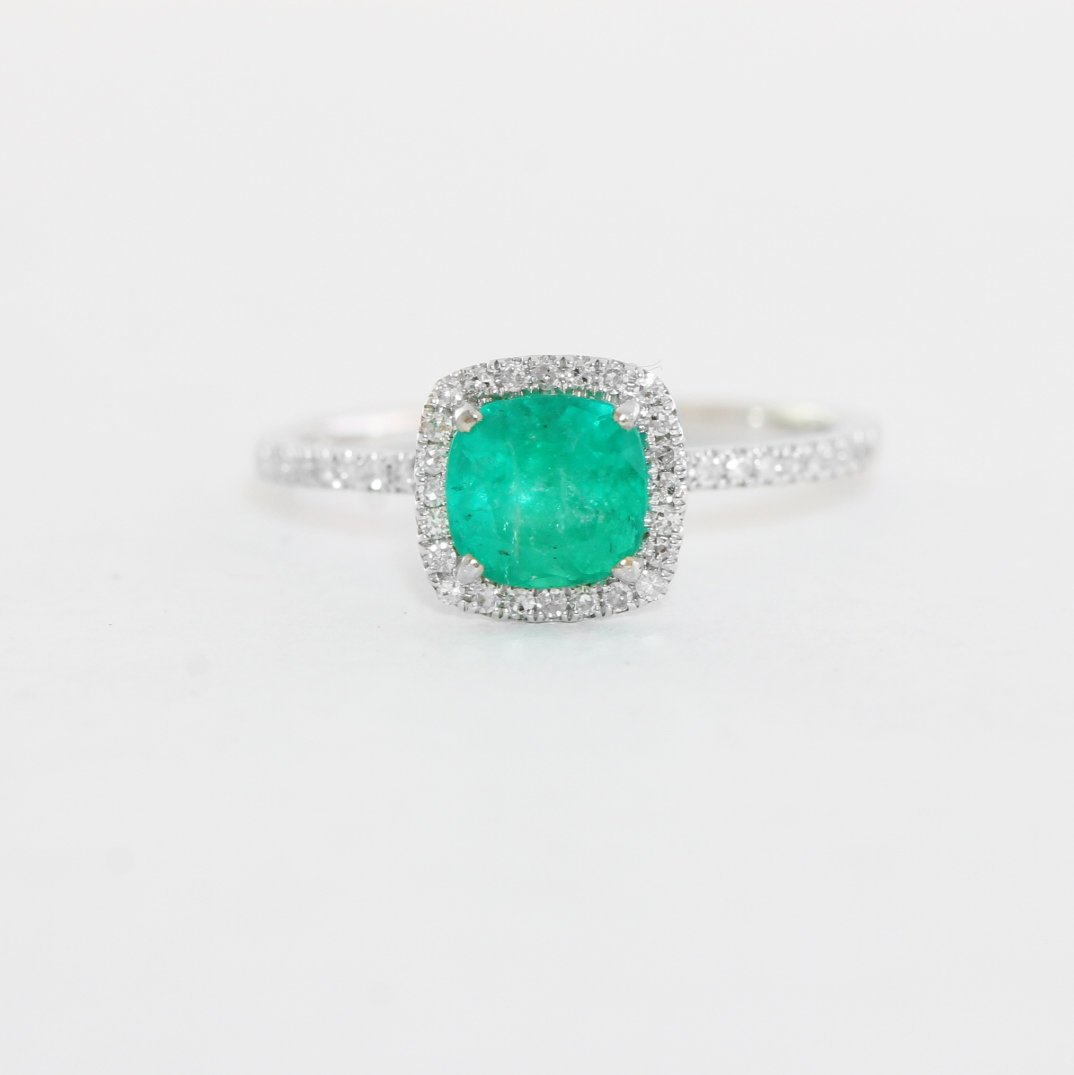 Emerald And Diamond Halo Engagement Ring Handmade In 9 Carat White Gold