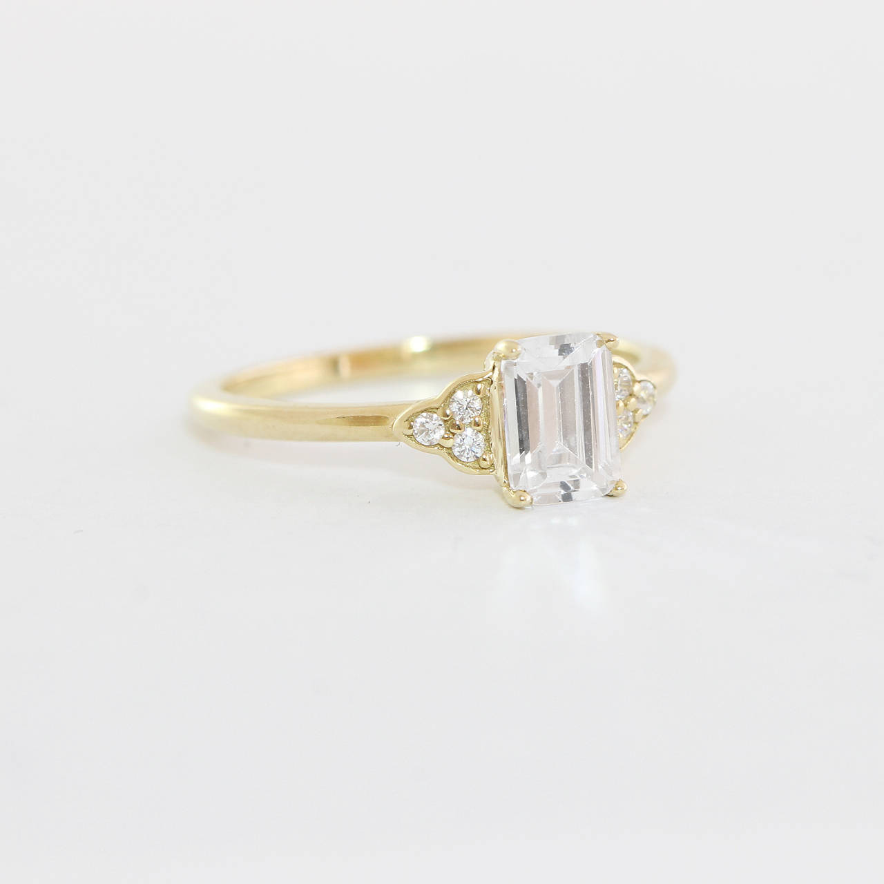 56f7b1808abc1 Emerald cut Moissanite/White Sapphire and Diamond engagement ring antique  1920s inspired handmade in rose/white/yellow gold
