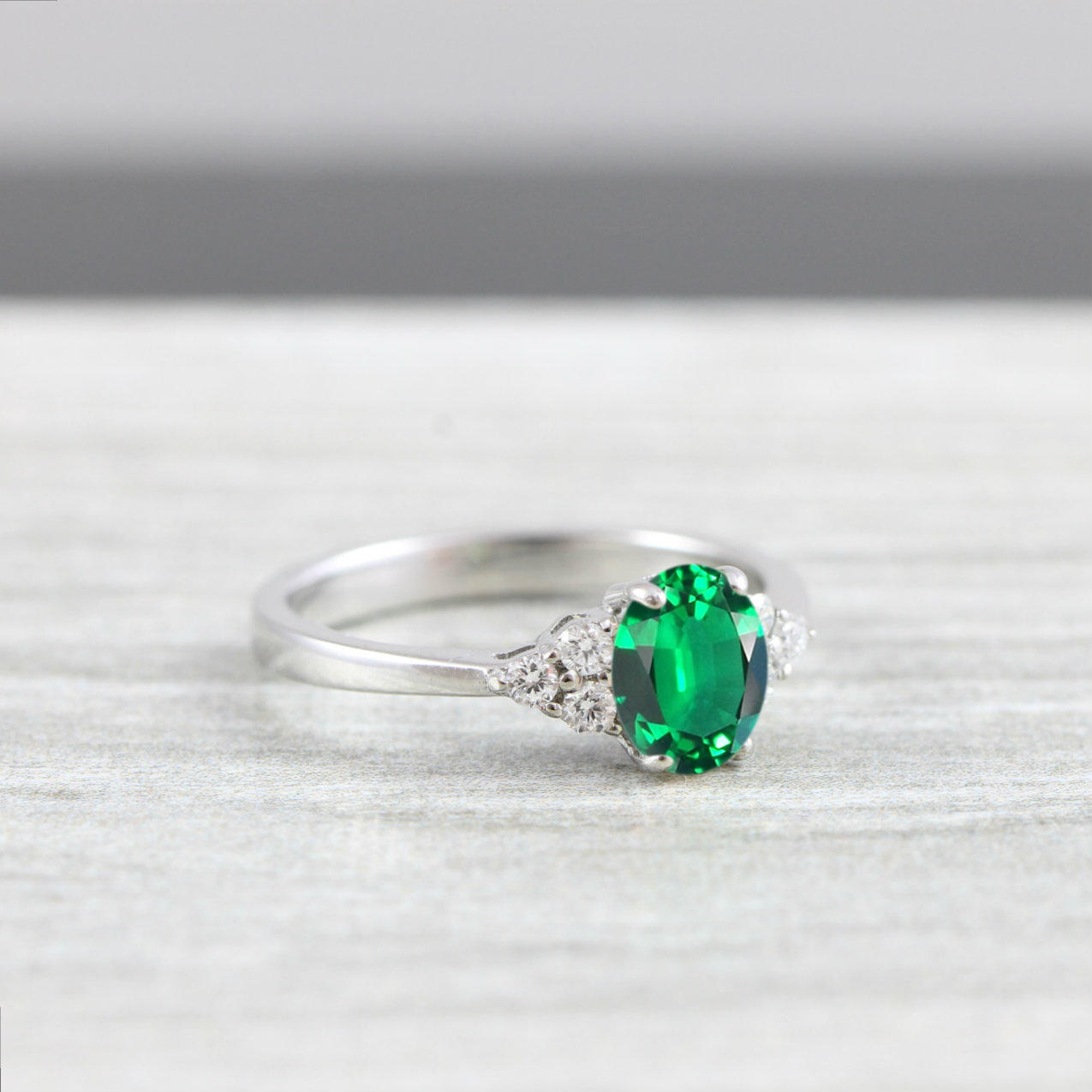 4a214f0293fba Lab created Emerald and Diamond oval engagement ring in white/rose/yellow  gold for her handmade ring UK