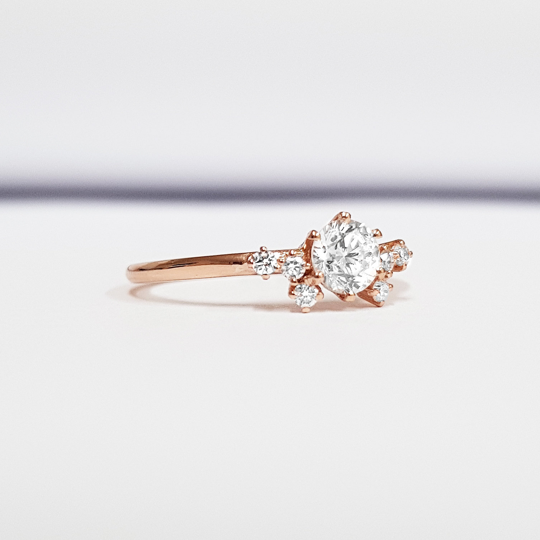 fc647c30a319 Lab grown diamond cluster engagement ring in 14 carat rose gold handmade –  Aardvark Jewellery