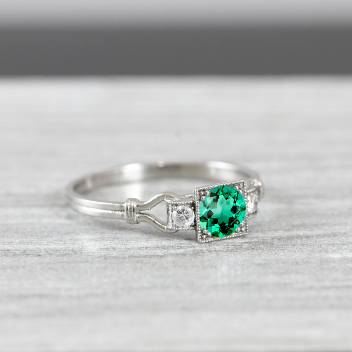 Lab grown emerald and diamond engagement ring handmade in platinum or gold  art deco 1920\u0027s inspired
