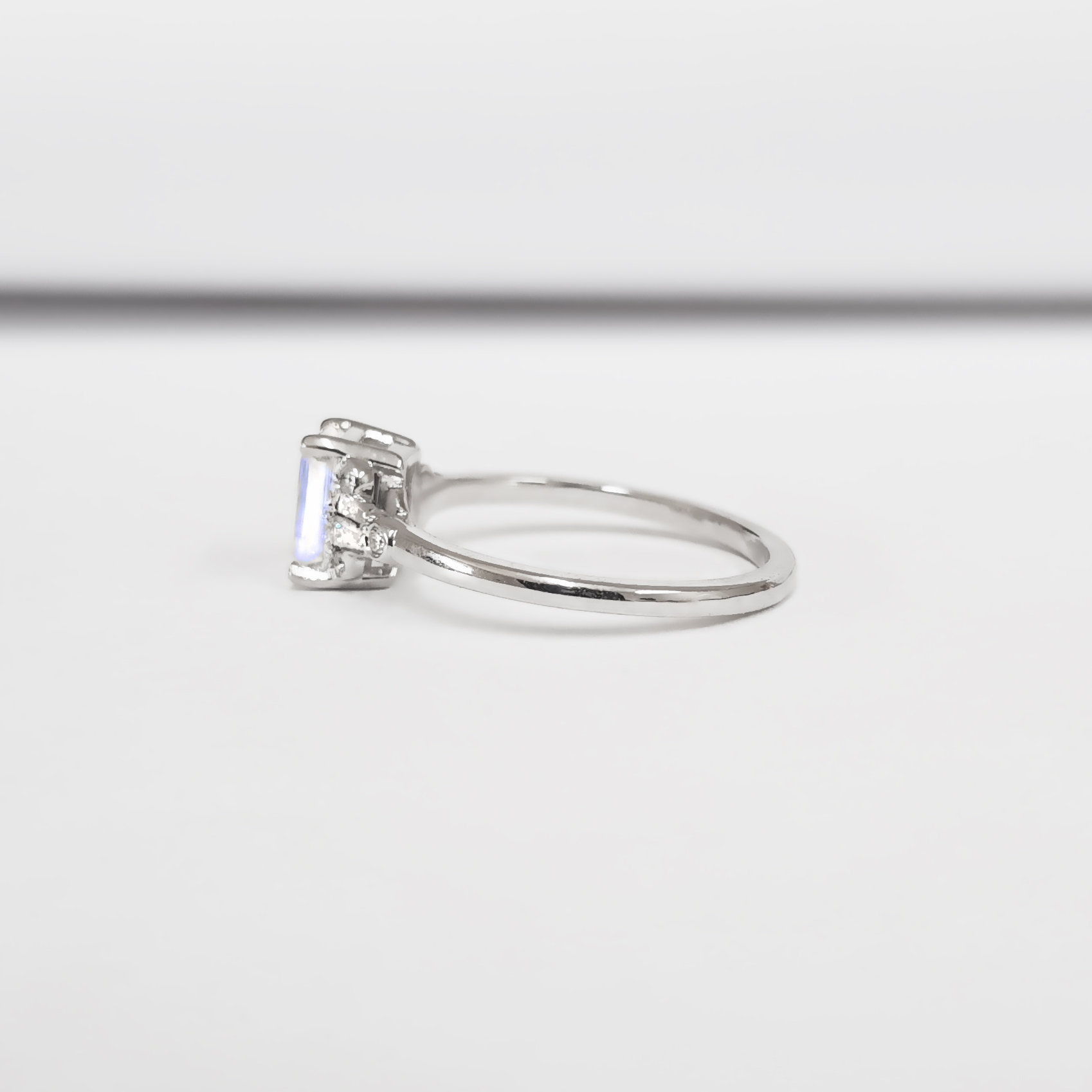 Moonstone And Diamond Emerald Cut Engagement Ring In White Rose Yellow Gold Or Platinum For Her Handmade Ring Uk Aardvark Jewellery