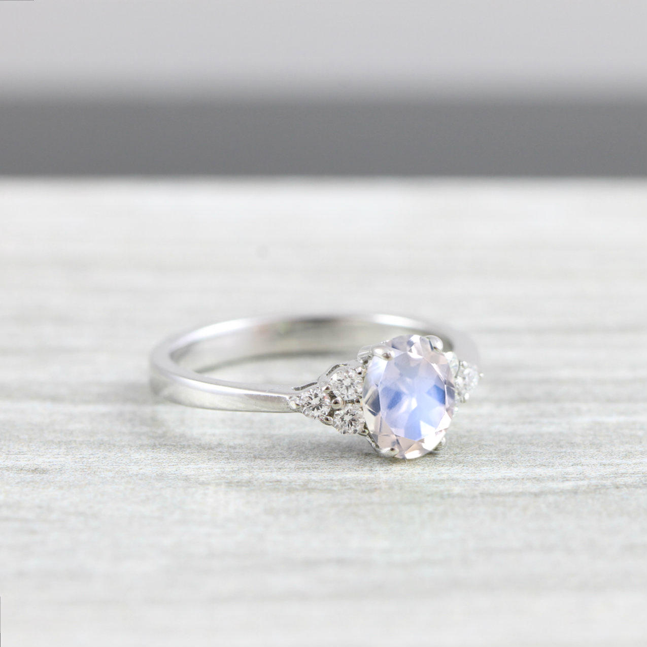 Moonstone And Diamond Oval Engagement Ring In White Rose Yellow Gold For Her Handmade Ring Uk Aardvark Jewellery