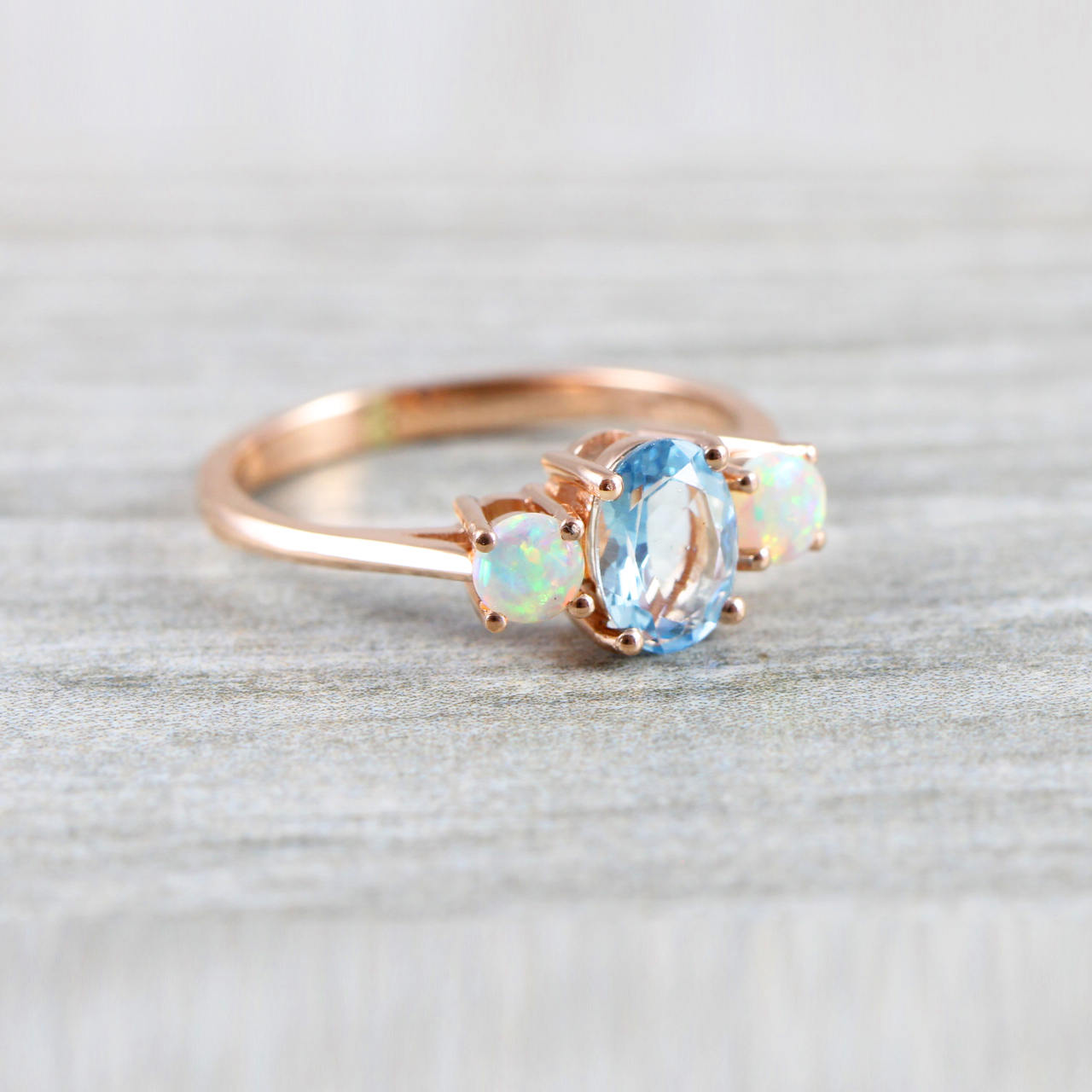 560bb73181024 Opal and aquamarine engagement ring handmade trilogy three stone in  rose/white/yellow gold or platinum unique