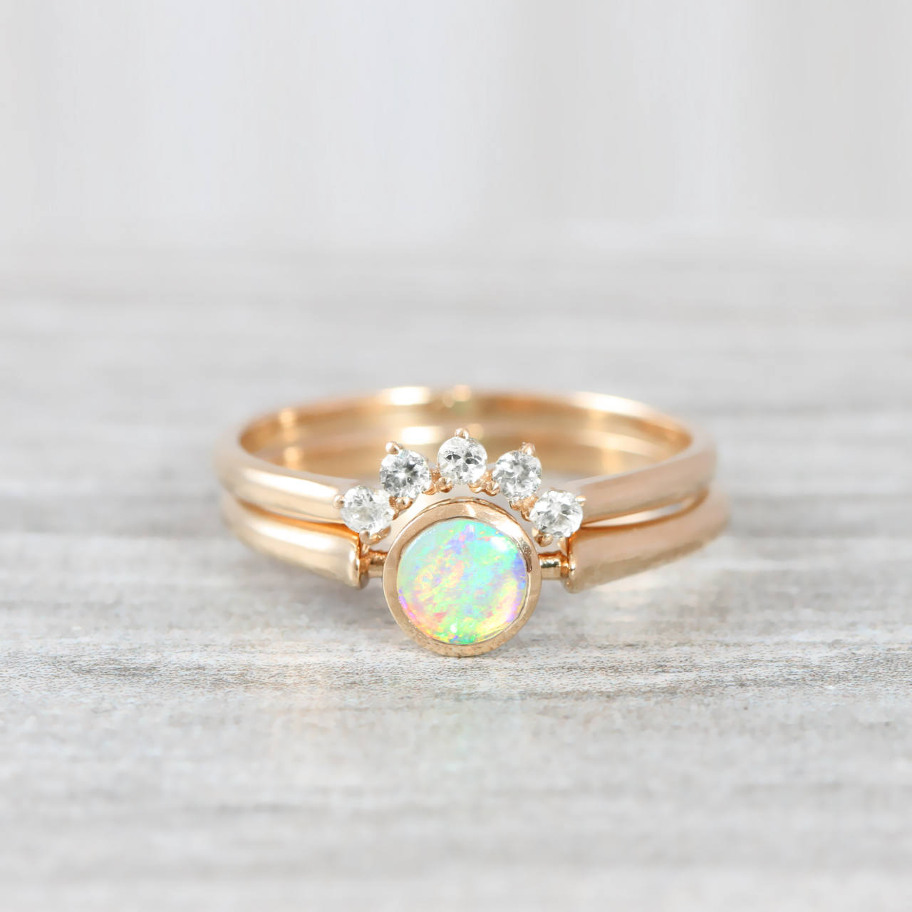 Wedding Ring Set.Opal And Diamond Engagement Wedding Ring Set Handmade In Rose White Yellow Gold Art Deco Inspired Thin Petite Band Minimal Simple Unique