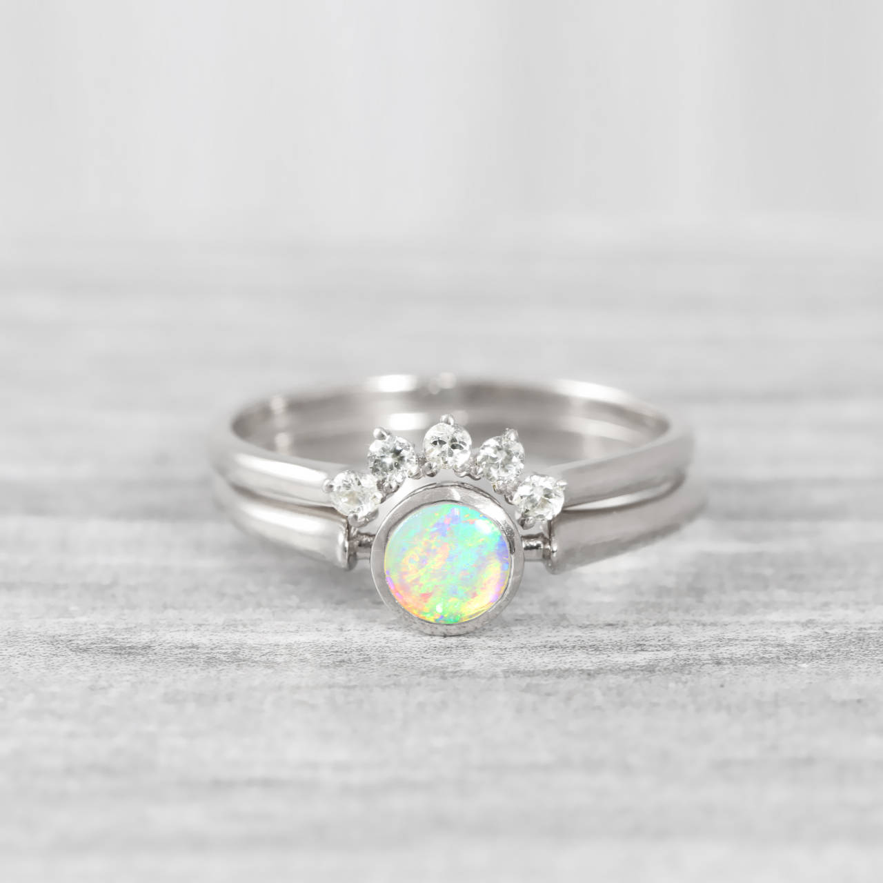 Simple Wedding Ring.Opal And Diamond Engagement Wedding Ring Set Handmade In Rose White Yellow Gold Art Deco Inspired Thin Petite Band Minimal Simple Unique