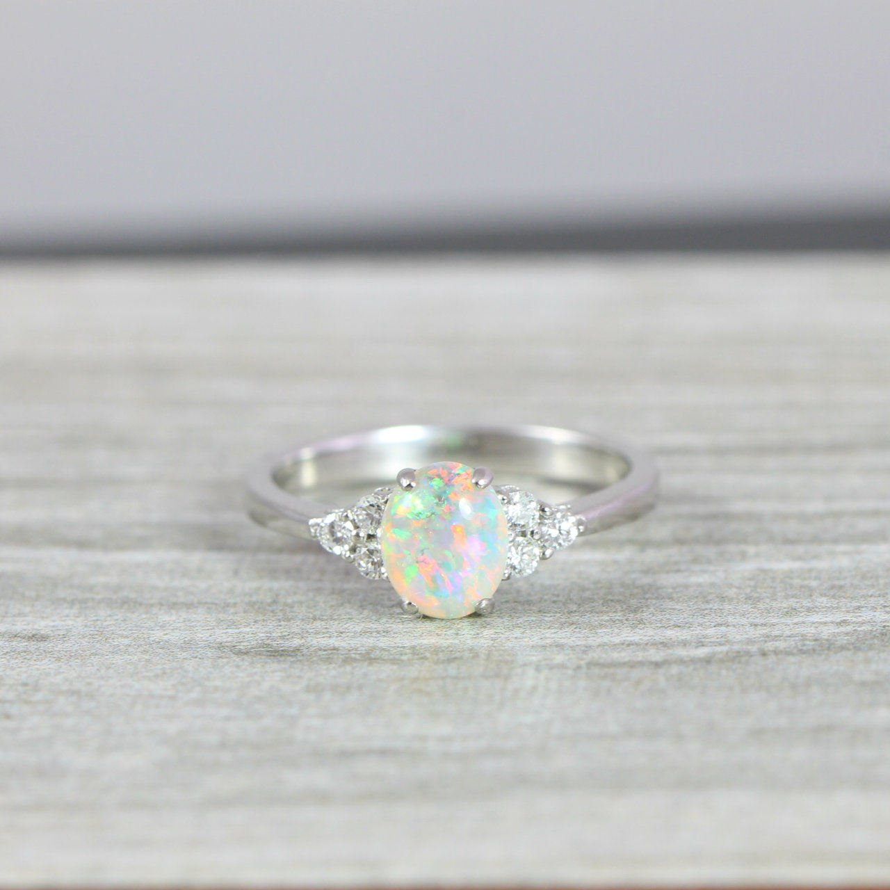 dedd59d9ebce01 Opal and Diamond oval engagement ring in 14 carat white gold ...