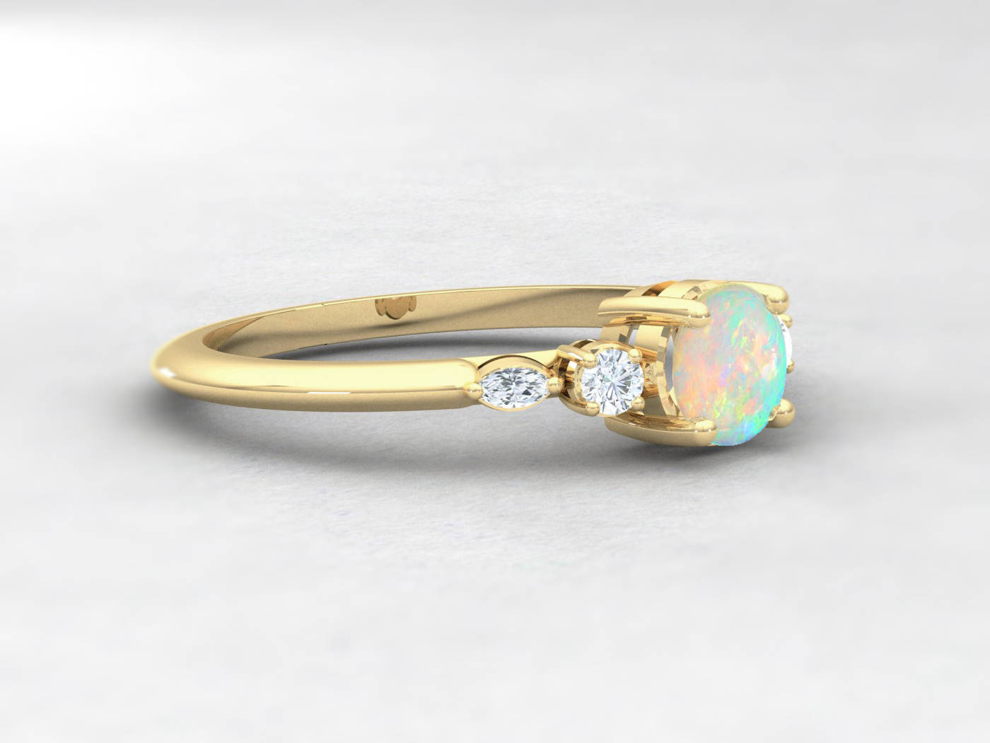 Opal And Diamond Enement Ring | Opal Diamond Engagement Ring Handmade In Yellow Rose White Gold