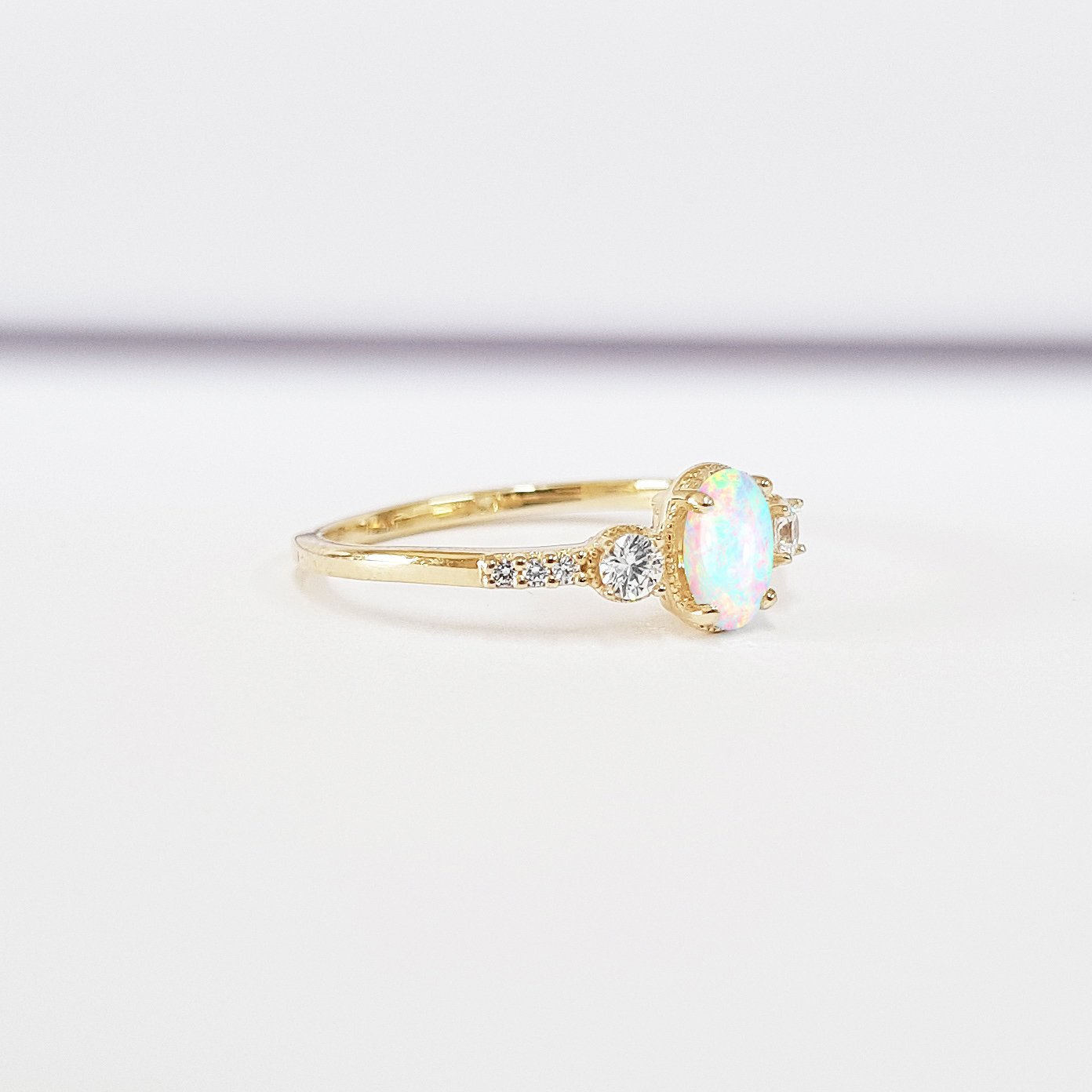 23bf6c2b308d43 Oval opal diamond milgrain trilogy 3 stone engagement ring handmade in  rose/white/yellow gold or platinum petite delicate low profile – Aardvark  Jewellery