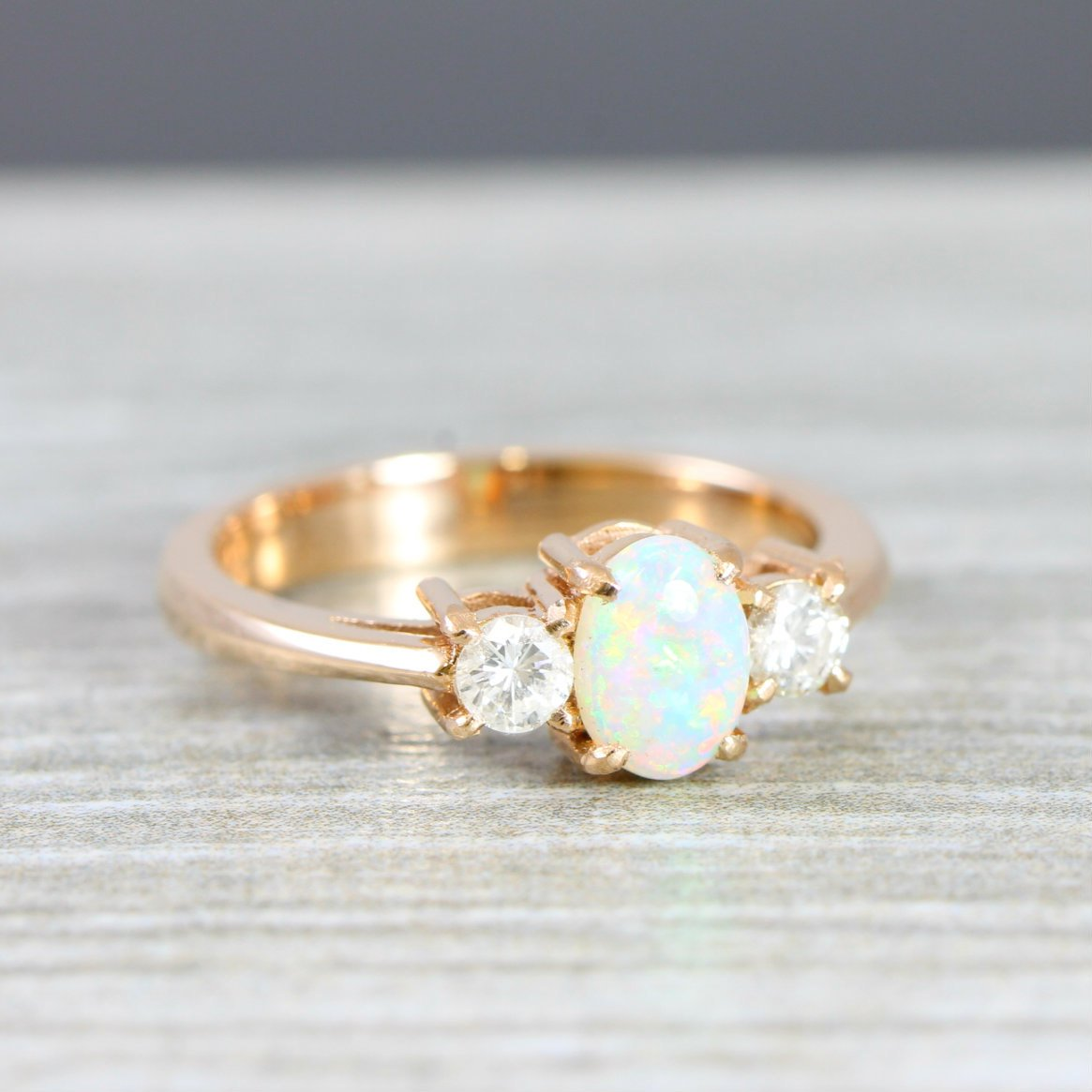 Rose Gold Opal And Diamond Engagement Ring In 14 Carat Gold For Her Handmade Ring Uk Aardvark Jewellery