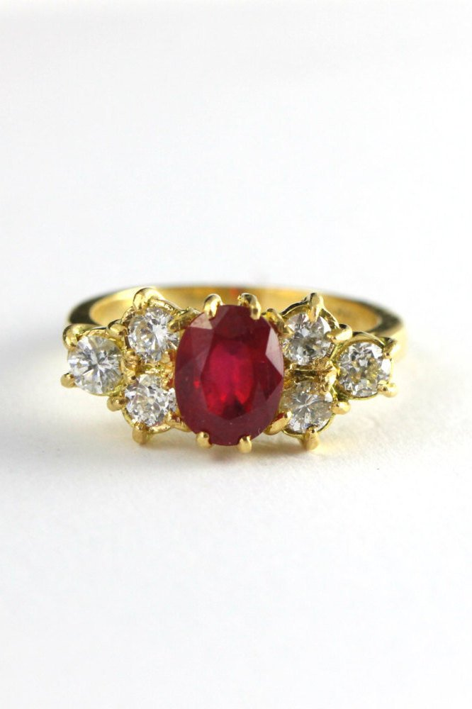 Ruby And Diamond Edwardian Style Engagement Ring For Her In 18 Carat