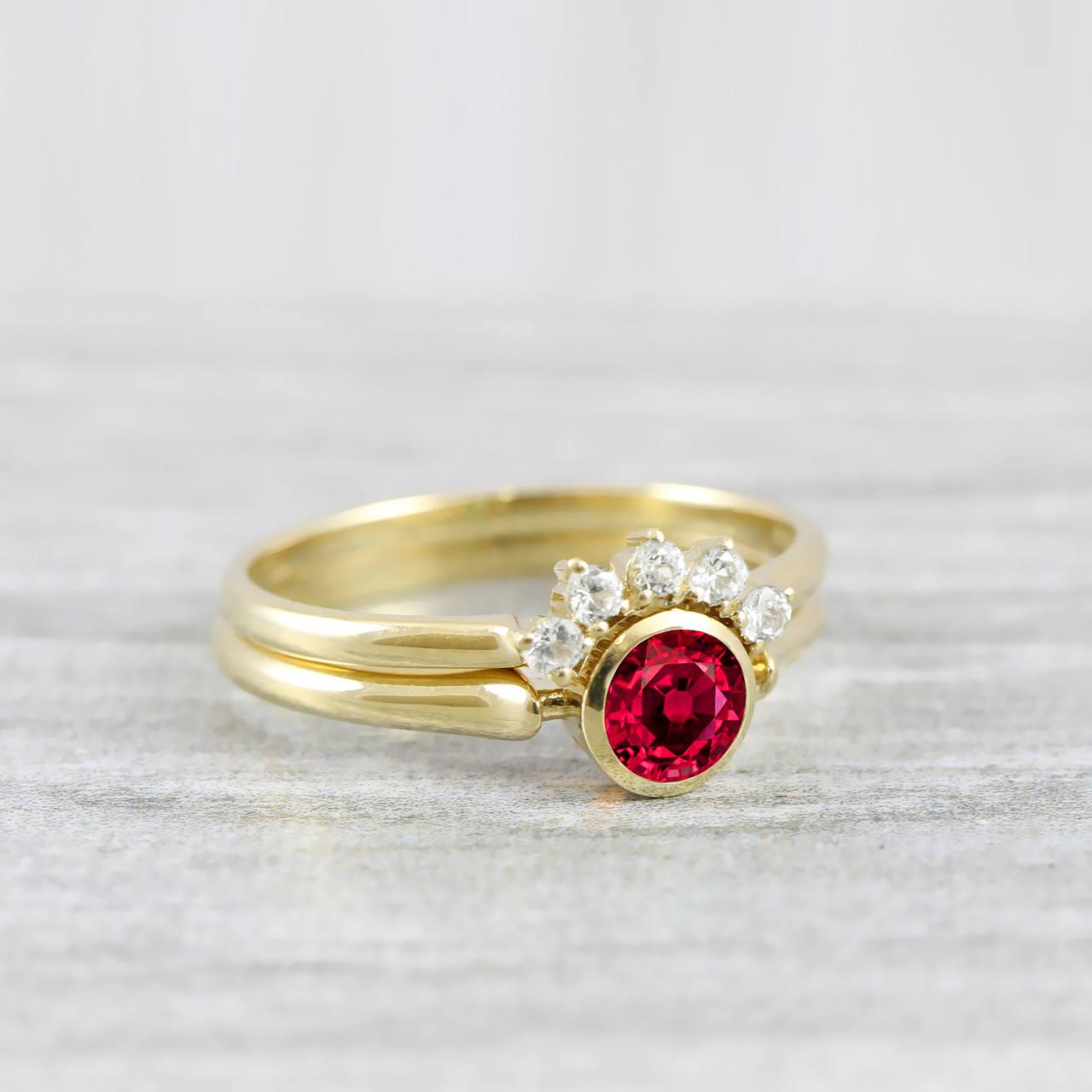 Ruby And Diamond Engagement Wedding Ring Set Handmade In Rose White