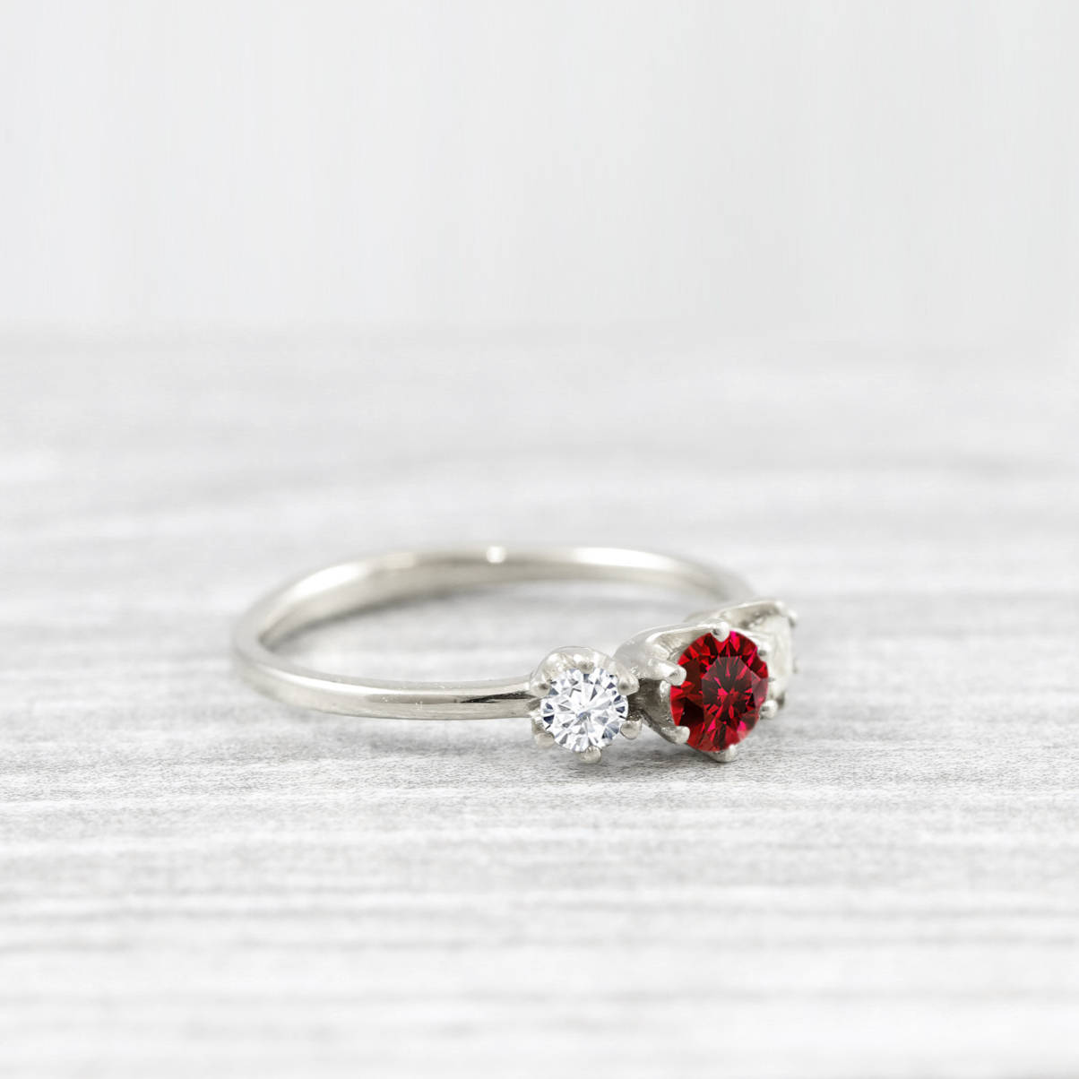 Ruby And Diamond Moissanite Trilogy 3 Stone Engagement Ring Handmade In Gold Or Platinum Aardvark Jewellery