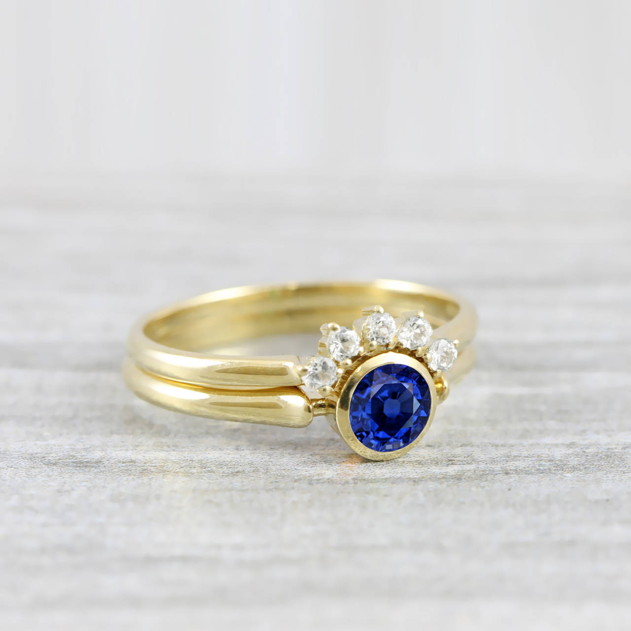 8bf88896b18a Sapphire and diamond engagement wedding ring set handmade in  rose white yellow gold art deco inspired thin petite band minimal unique –  Aardvark Jewellery