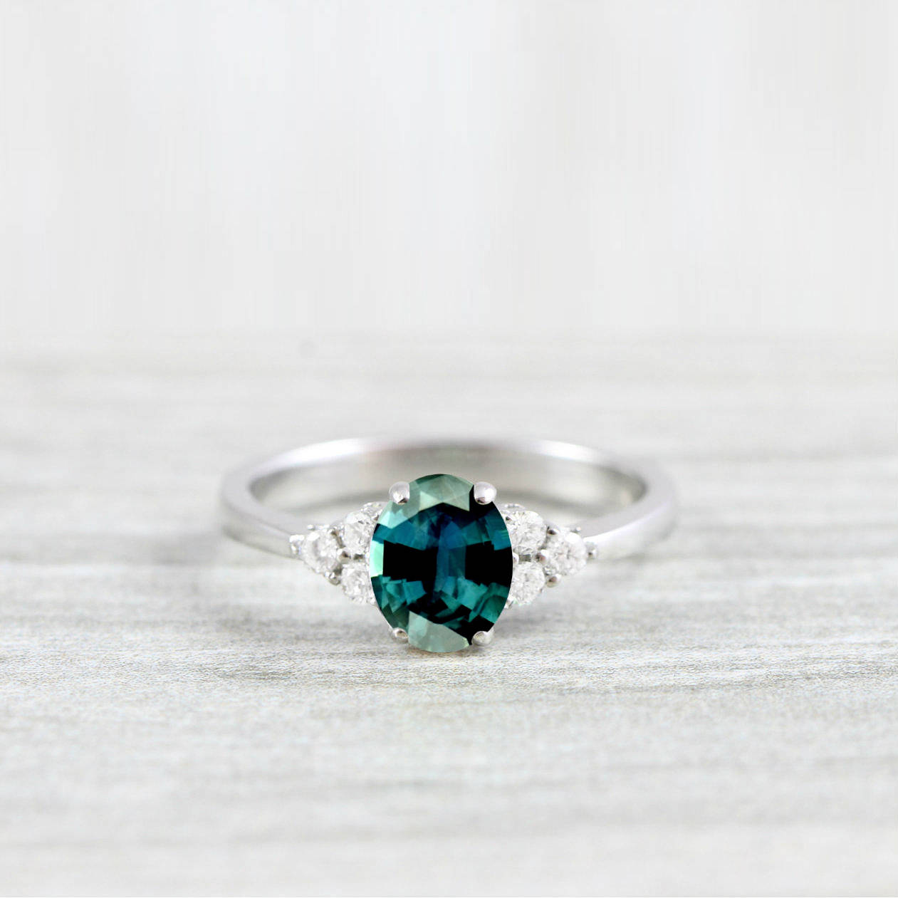 Teal Sapphire And Diamond Oval Engagement Ring In White Rose Yellow Gold Or Platinum For Her Handmade Ring Uk Aardvark Jewellery