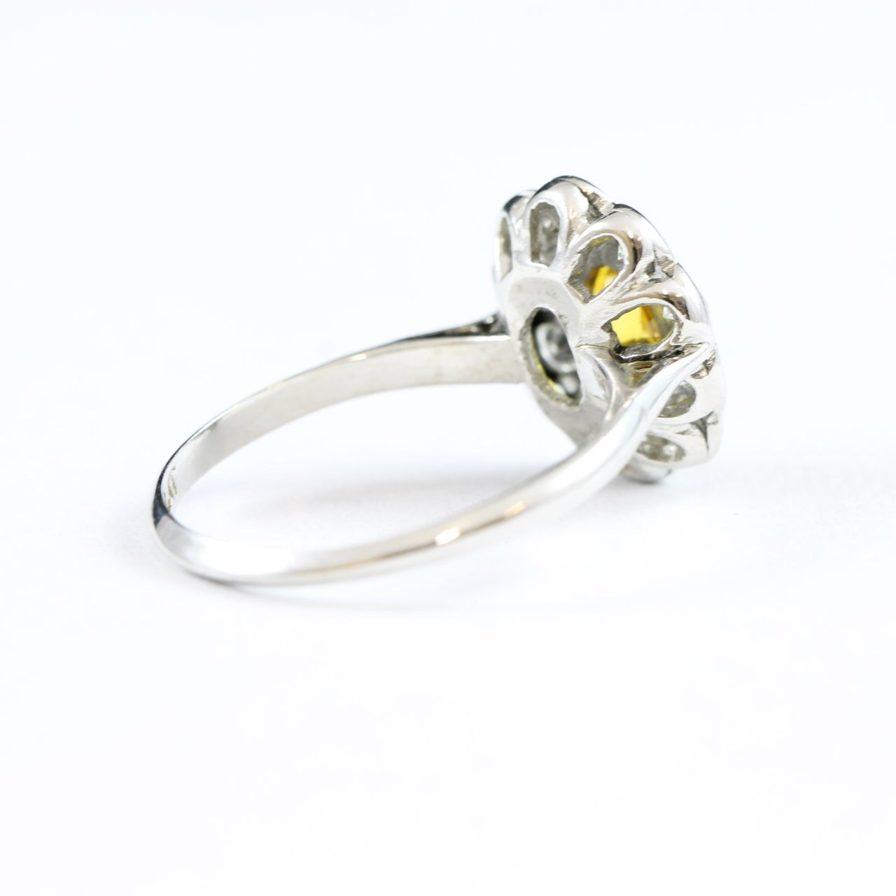 a1760e899b19c Yellow sapphire and diamond daisy cluster ring in platinum antique  rennovated to new