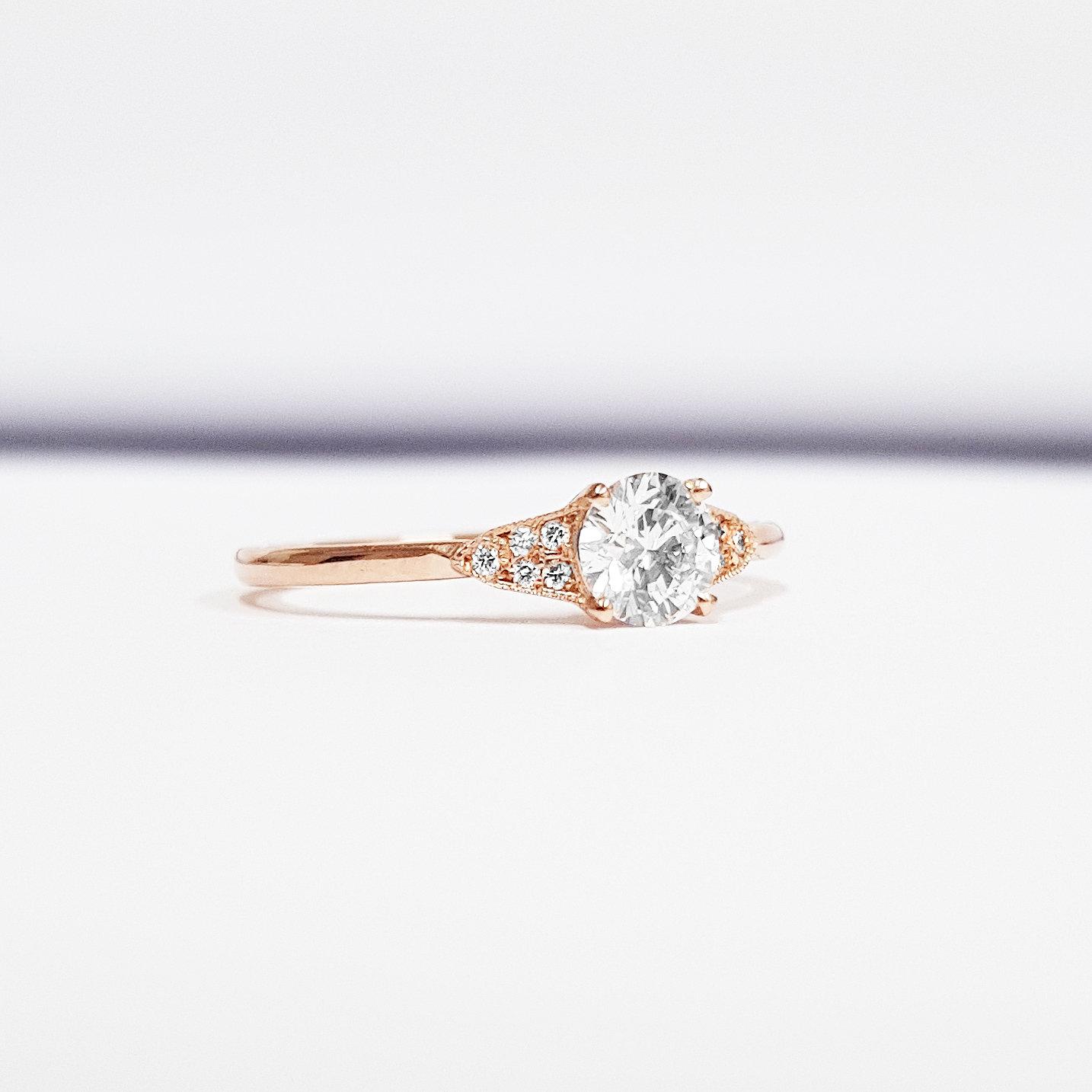 Moissanite and diamond engagement ring handmade in gold or platinum antique  1920s art deco inspired