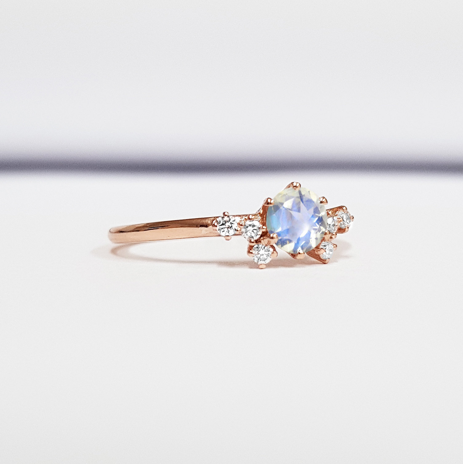 Rose Gold Wedding Ring.Moonstone And Diamond Unique Engagement Ring In White Yellow Rose Gold Or Platinum Handmade