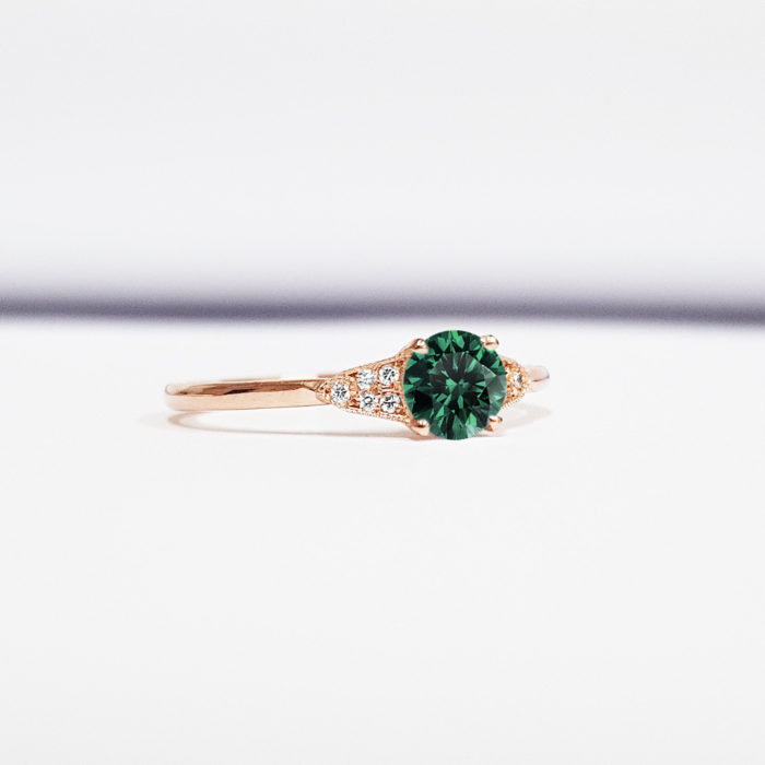 473dc5e877 Green sapphire and diamond engagement ring handmade in gold or ...