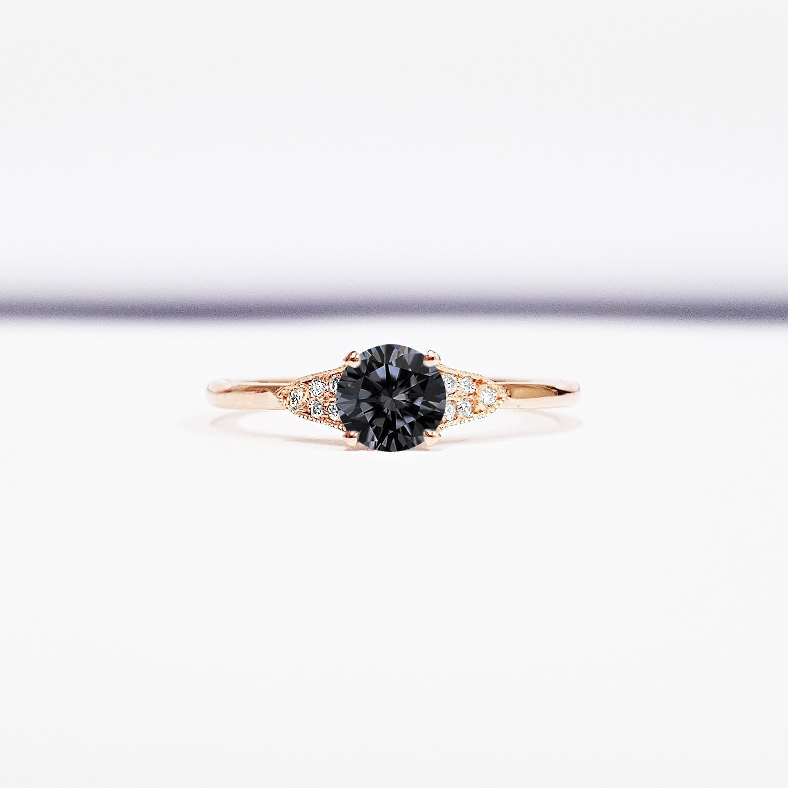 Grey moissanite and diamond engagement ring handmade in gold or platinum  antique 1920s art deco inspired