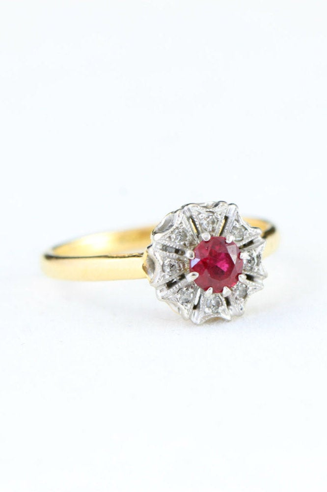 229eaa5d85 Edwardian ruby and diamond engagement ring in 18 carat gold and ...