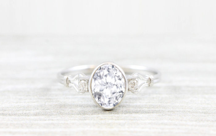ded4e62482ede Natural oval white sapphire and diamond engagement ring trilogy 3 stone art  deco inspired handmade ring in gold or platinum