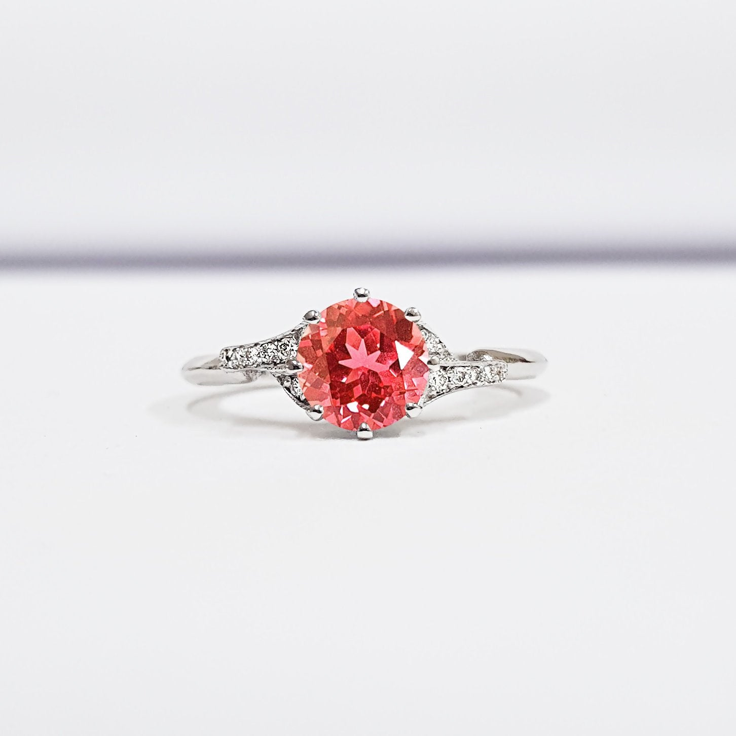 Padparadscha Sapphire And Diamond Engagement Ring Handmade In White Rose Yellow Gold Or Platinum Antique Edwardian Inspired Mount Aardvark Jewellery,Modern White Kitchen Cabinets With Grey Countertops