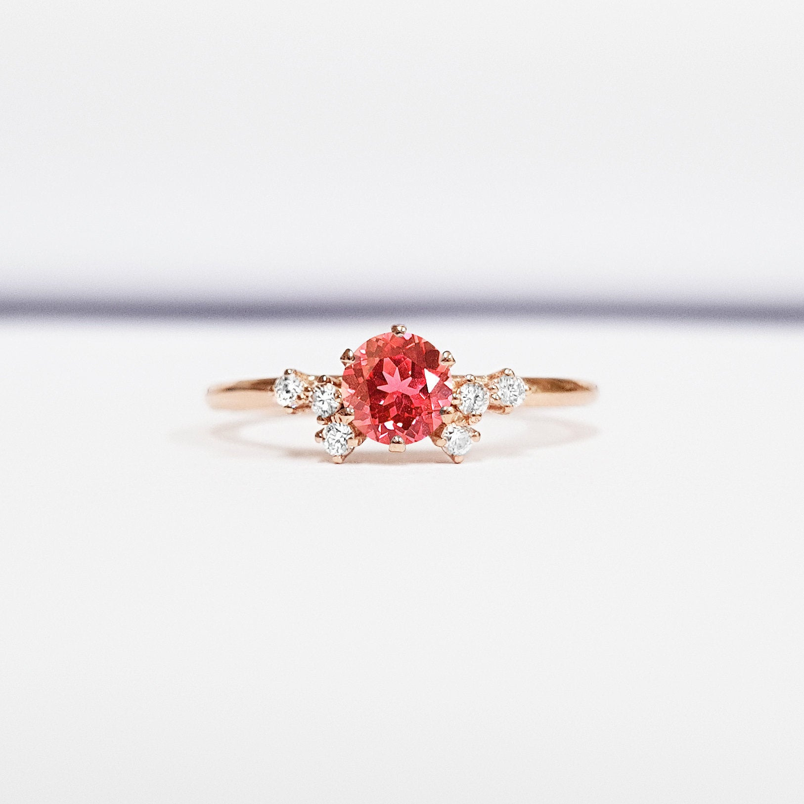 Padparadscha Sapphire And Diamond Unique Engagement Ring In White Yellow Rose Gold Or Platinum Handmade Aardvark Jewellery,Modern White Kitchen Cabinets With Grey Countertops