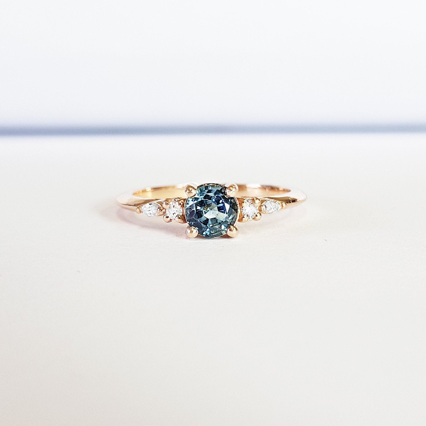 Teal Shire Engagement Ring Handmade