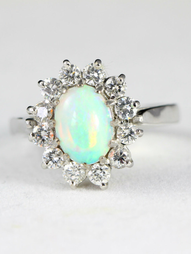 44f83376864f65 Vintage opal and diamond cluster ring in 18 carat gold for her ...